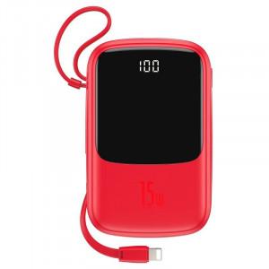 Powerbank Baseus Qpow cu cablu Lightning, 10000mAh, 3A, 15W (rosu)