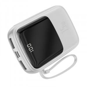 Powerbank Baseus Qpow cu cablu USB-C, 10000mAh, 3A, 15W (alb)