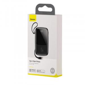 Powerbank Baseus Qpow cu cablu USB-C, 10000mAh, 3A, 15W (negru)
