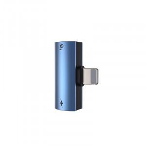 Adaptor Audio Baseus L46 Lightning la 2x Lightning (albastru)