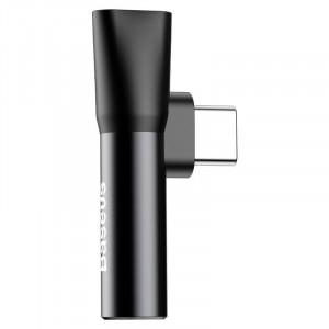 Adaptor Audio Baseus USB-C la Mini Jack 3.5mm + USB-C (negru)