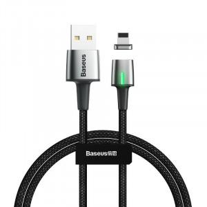 Cablu magnetic Lightning Baseus Zinc 1.5A 2m cu LED (negru)
