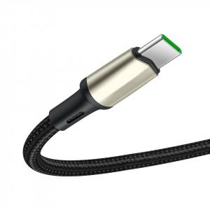 Cablu USB-C Baseus Cafule, VOOC, QC, 5A, 1m (negru)