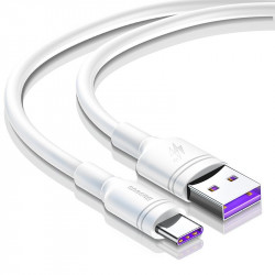 Cablu USB-C Baseus Double Ring pt Huawei SuperCharge 5A 0,5m - alb