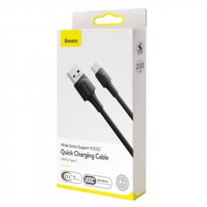 Cablu USB-C Baseus White Series, VOOC, QC, 5A, 2m (negru)