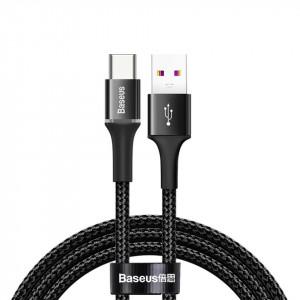 Cablu USB-C cu iluminare LED Baseus Halo do Huawei SuperCharge, 5A, 1m, 40W (negru)