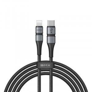 Cablu USB-C - Lightning Baseus BMX Double-deck, MFi, Power Delivery, 18W, 1,8m (negru-gri)
