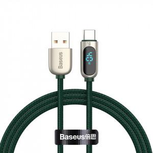 Cablu USB la USB-C Baseus Display, 5A, 1m (verde)