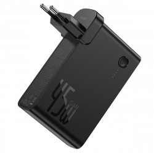 Incarcator GaN + powerbank 10000mAh 2in1 Baseus Power Station, USB + USB-C, QC 3.0, PPS, PD 3.0, 5A, 45W (negru)