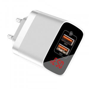 Incarcator retea Baseus Mirror Lake cu display, 2x USB, QC 3.0, 18W (alb)