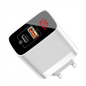 Incarcator retea Baseus Mirror Lake cu display, USB + USB-C, QC 3.0, PD 18W (alb)