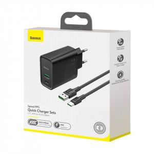 Incarcator retea Baseus Speed PPS, USB + USB-C, VOOC, 30W + cablu USB-C 1m 5A (negru)