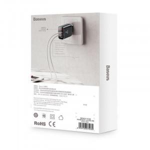 Incarcator retea cu display Baseus Mirror Travel 3x USB - negru