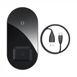 Incarcator wireless Qi 2in1 Baseus Simple 15W pt telefon si Apple Airpods (negru)