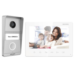 Kit videointerfon analogic 7inch, camera 2MP, conectare 2 fire - HIKVISION DS-KIS101-P(S)