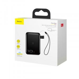 Powerbank Baseus Mini S cu incarcare wireless, 10000mAh, 18W, USB (negru)