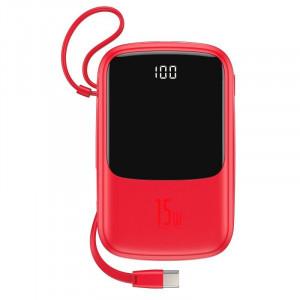 Powerbank Baseus Qpow cu cablu USB-C, 10000mAh, 3A, 15W (rosu)