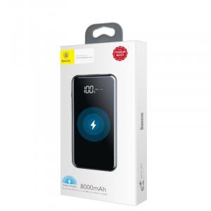 Powerbank cu incarcare wireless Qi Baseus 8000mAh (negru)
