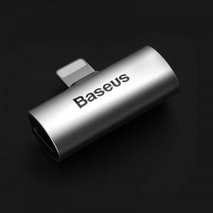 Adaptor Audio Baseus L46 Lightning la 2x Lightning (argintiu-negru)