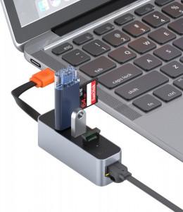 Adaptor HUB Baseus USB cu 3x USB 3.0 + RJ-45 (gri)