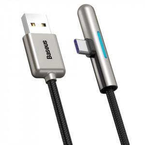 Cablu 90 grade plat USB-C Baseus Iridescent, Huawei SuperCharge, 40W, 2m (negru)