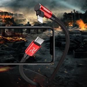 Cablu 90 grade USB-C - Lightning PD Baseus MVP Elbow, 18W, 2m (rosu)