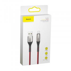 Cablu Lightning cu LED Baseus Horizontal 0.5m 2.4A (rosu)