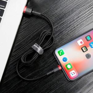 Cablu Lightning USB Baseus Cafule 2,4A 0,5m (negru-rosu)