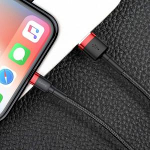 Cablu Lightning USB Baseus Cafule 2A 3m (negru-rosu)