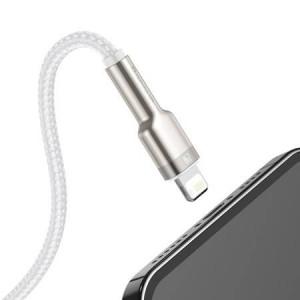 Cablu metalic Lightning Baseus Cafule, 2.4A, 2m (alb)