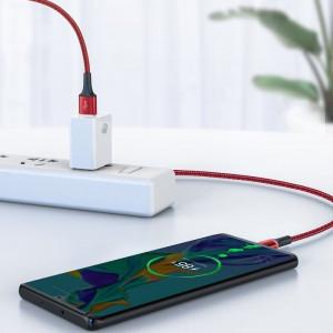 Cablu USB-C cu iluminare LED Baseus Halo do Huawei SuperCharge, 5A, 0,5m, 40W (rosu)