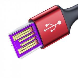 Cablu USB-C cu iluminare LED Baseus Halo do Huawei SuperCharge, 5A, 1m, 40W (rosu)