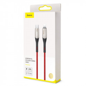 Cablu USB-C - Lightning Baseus Horizontal Power Delivery, dioda LED, 0,5m (rosu)