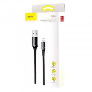 Cablu USB Lightning cu LED Baseus C-shaped 2.4A 1m (negru)