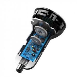 Incarcator auto Baseus Digital Display, USB + USB-C, QC3.0, 45W, 5A (argintiu)