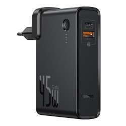 Incarcator GaN + powerbank 10000mAh 2in1 Baseus Power Station, USB + USB-C, QC 3.0, PPS, PD 3.0, 5A, 45W (negru)