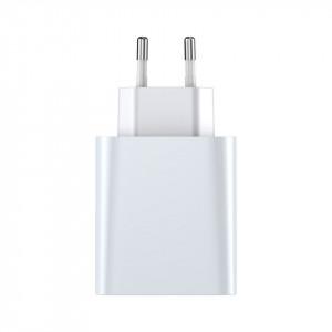 Incarcator retea USB+USB-C Baseus 30W + cablu Baseus USB-C la USB-C 1m (alb)