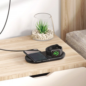 Incarcator wireless 2in1 Baseus Planet, telefon + Apple Watch, 24W (negru)