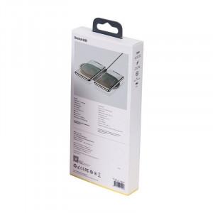 Incarcator wireless Qi 2in1 Baseus Simple 18W pt telefon si Apple Airpods (transparent)