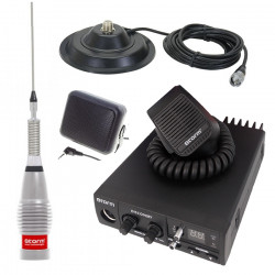 Kit Statie radio CB Storm Discovery III 2018 *PRO-VERSION* + Antena radio CB Storm ML 145 Silver + baza magnetica 145 PL si difuzor extern DF1