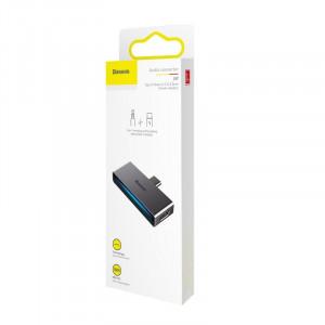 Adaptor Audio Baseus L57 USB-C na USB-C + minijack 3,5mm, QC 3.0, PD (gri)