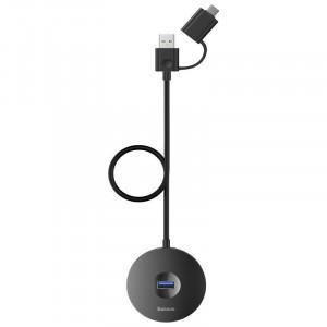 Adaptor USB 3.0 Baseus Round Box, HUB USB/USB-C la 1x USB 3.0 + 3x USB 2.0, 1m (negru)