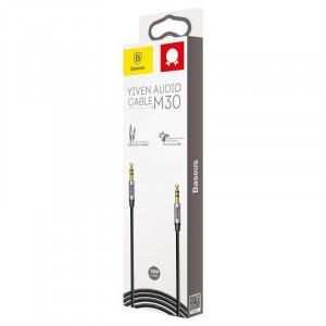 Cablu audio mini jack 3,5mm AUX Baseus Yiven 1,5m (negru-argintiu)