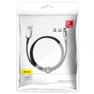 Cablu magnetic USB-C, Micro USB, Lightning Baseus Zinc 2A 1m (negru)