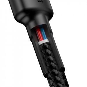 Cablu USB-C la USB-C PD Baseus Cafule PD 2.0, QC 3.0, 60W, 2m (negru-gri)