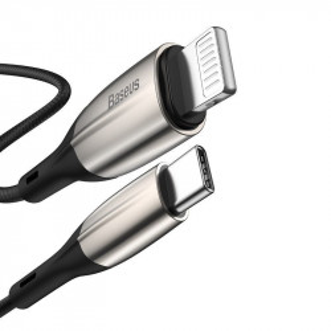 Cablu USB-C - Lightning PD Baseus Horizontal, Power Delivery, dioda LED, 2m (negru)