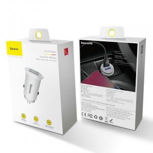 Incarcator auto Baseus Circular 2xUSB QC3.0 5A 30W (alb)