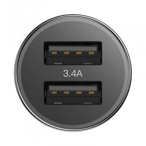 Incarcator auto + cablu Lightning Baseus Small Screw 2xUSB 3.4A (negru)