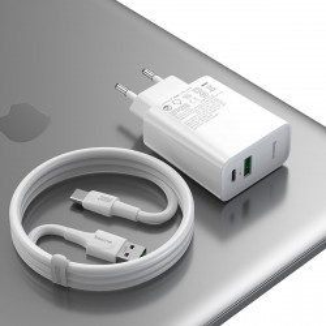 Incarcator retea Baseus Speed PPS, USB + USB-C, VOOC, 30W + cablu USB-C 1m 5A (alb)