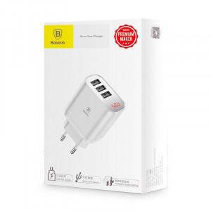 Incarcator retea cu display Baseus Mirror Travel 3x USB - alb